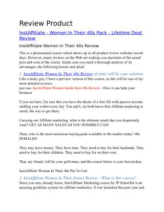 Instaffiliate - Women In Their 40s Pack - Lifetime Deal Review