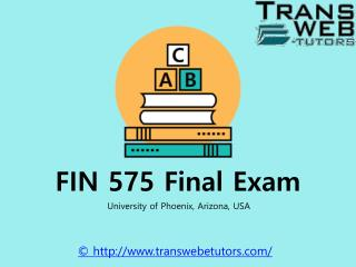 FIN 575 Final Exam @Transweb E Tutors