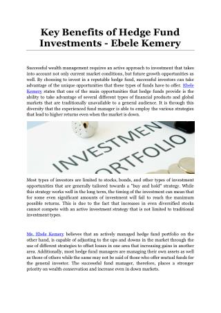 Key Benefits of Hedge Fund Investments - Ebele Kemery