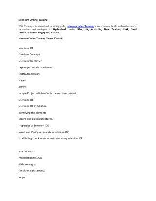 Selenium Training Online Course - msrtrainings