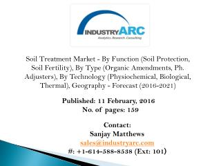 Soil Treatment Market: to grow at a CAGR of 8.5% globally through 2021