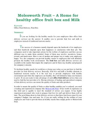 Molesworth Fruit – A Home for healthy office fruit box and Milk