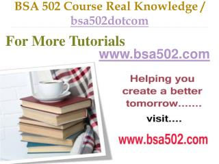 BSA 502 Course Real Tradition,Real Success / bsa502dotcom