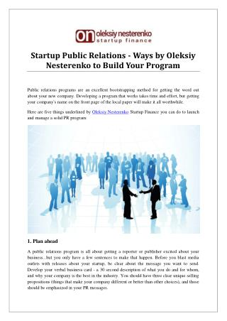 Startup Public Relations - Ways by Oleksiy Nesterenko to Build Your Program