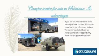 Camper trailer for sale in Brisbane: Its advantages