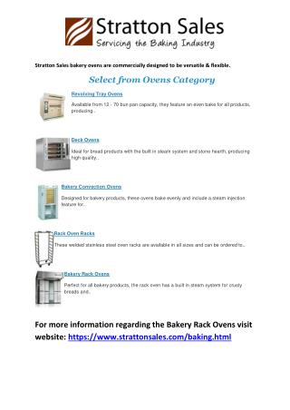Bakery Ovens - Stratton Sales