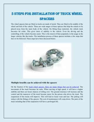 5 Steps for Installation of Truck Wheel Spacers
