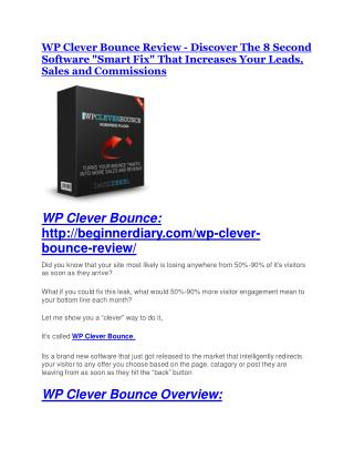 WP Clever Bounce TRUTH review and EXCLUSIVE $25000 BONUS