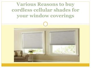 Various Reasons to buy cordless cellular shades for your window coverings