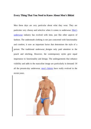 Every Thing That You Need to Know About Men�s Low Rise Underwear