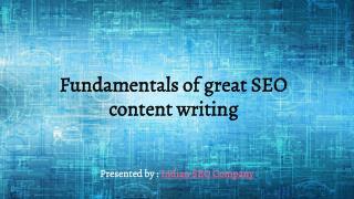 Fundamentals of great SEO content