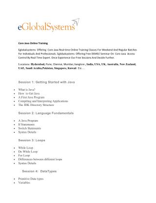 Core java online training course - eglobalsystems