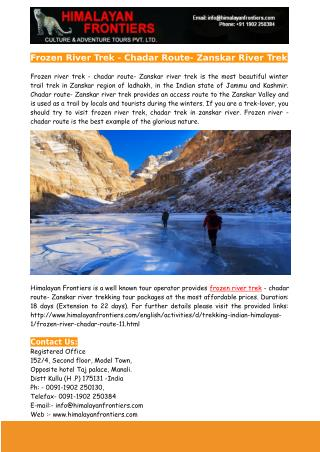 Frozen River Trek - Chadar Route- Zanskar River Trek