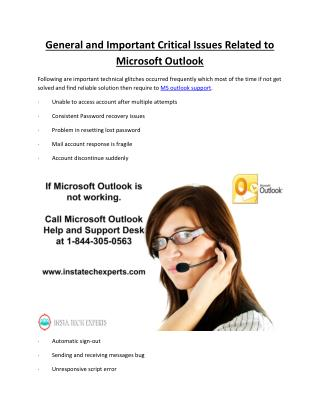 General and Important Critical Issues Related to Microsoft Outlook