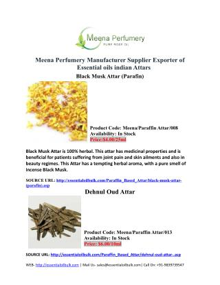 Meena Perfumery Manufacturer Supplier Exporter of Essential oils indian Attars
