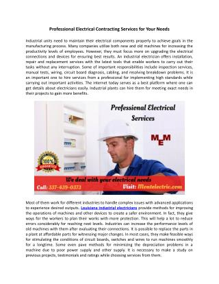 Professional Electrical Contracting Services for Your Needs