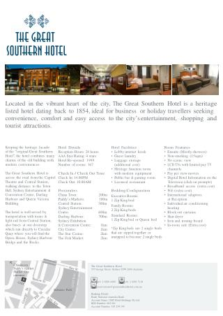 Amenities of Best 4 Star Hotels in Sydney CBD - The Great Southern Hotels