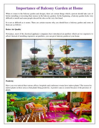 Importance of Balcony Garden at Home