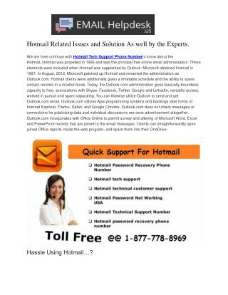 Connect on (1-877-778-8969) Hotmail Password Recovery Phone Number