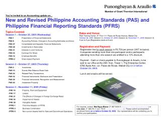You re invited to an Accounting update on... New and Revised Philippine Accounting Standards PAS and Philippine Financia