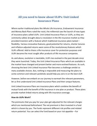 All you need to know about ULIPs: Unit Linked Insurance Plans
