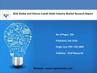 Global Cobalt Oxide Market Growth and Forecast 2016