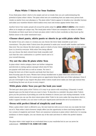 Plain White T Shirts for Your Fashion