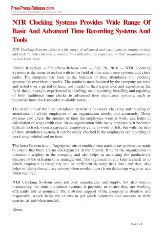 NTR Clocking Systems Provides Wide Range Of Basic And Advanced Time Recording Systems And Tools