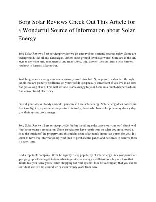 Borg Solar Reviews Check Out This Article for a Wonderful Source of Information about Solar Energy