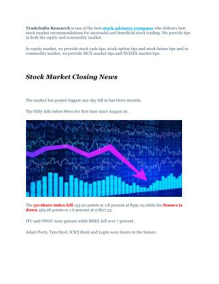 Full Target Achieved Trading Calls With Stock Market Closing News � 29th September