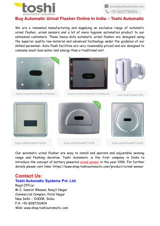 Buy Automatic Urinal Flusher Online In India – Toshi Automatic