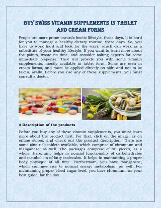 Buy Swiss Vitamin Supplements In Tablet And Cream Forms