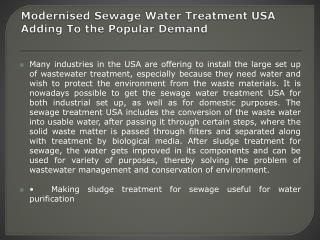 Sewage Water Treatment USA