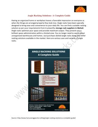Angle Racking Solutions- A Complete Guide