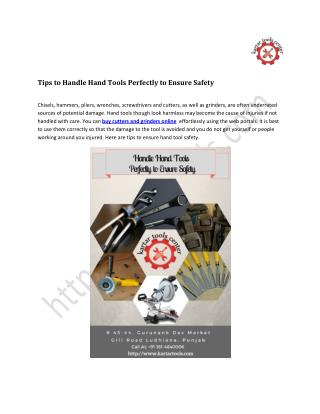 Tips to Handle Hand Tools Perfectly to Ensure Safety