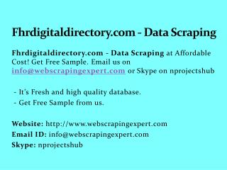 Fhrdigitaldirectory.com - Data Scraping