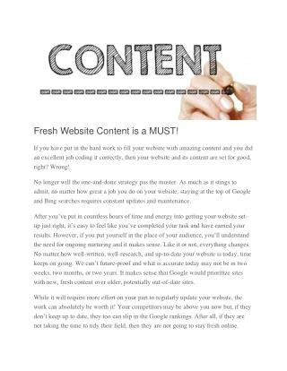 Fresh Website Content is a MUST!