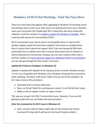 Windows 10 Wi-Fi Not Working – Find The Fixes Here