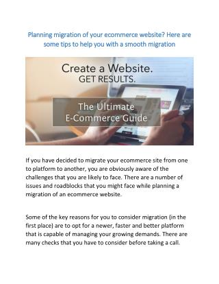 Planning migration of your ecommerce website? Here are some tips to help you with a smooth migration