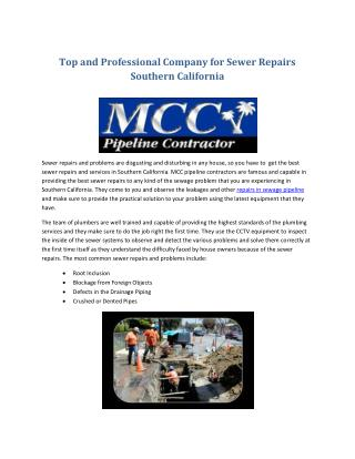 Top and Professional Company for Sewer Repairs Southern California