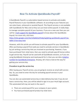 How To Activate Quickbooks Payroll?