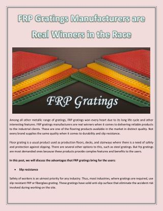FRP Gratings Manufacturers are Real Winners in the Race