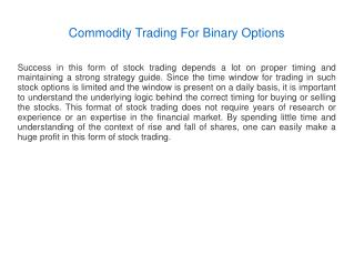 Commodity Trading For Binary Options