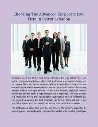 Choosing The Advanced Corporate Law Firm In Beirut Lebanon
