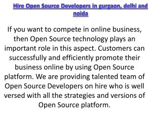 Hire Open Source Developers in gurgaon, delhi and noida