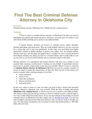 Find The Best Criminal Defense Attorney In Oklahoma City