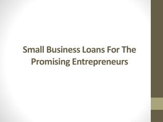 Small business loans for the promising entrepreneurs