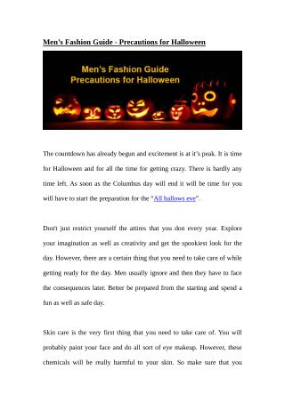 Men's Fashion Guide - Precautions for Halloween
