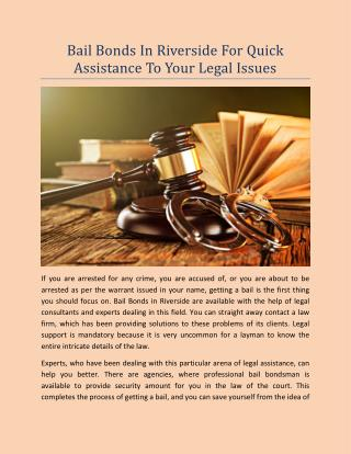 Bail Bonds In Riverside For Quick Assistance To Your Legal Issues