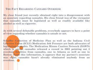 The Fact Regarding Cannabis Overdose